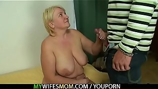 Mom jumps on son in laws cock