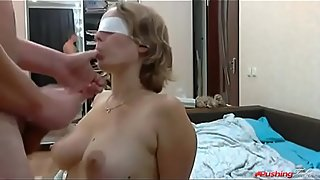 Step mom blindfolded trick fucked by son