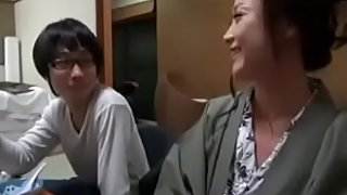 Japanese Mom shows nerdy Son how to Fuck