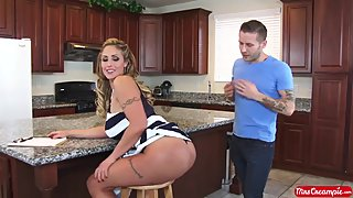 Eva Notty fucks young stud in kitchen