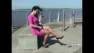 Raven hair Stiletto Girl teases erotic fetish with her clacking high heels