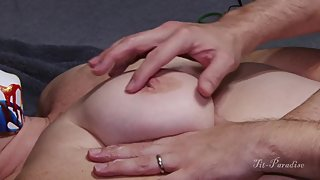 Amazing Natural MILF Tits Getting Rubbed with Lotion then MILF GETS FUCKED