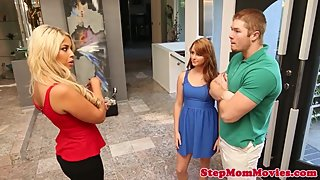 Stepmom cowgirls in trio with ginger teen gal