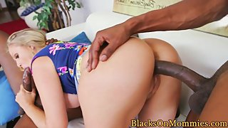 Blonde milf doggystyled before jerking bbc