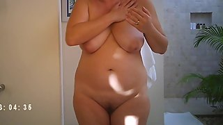 mature mom caught naked on bathroom hidden cam