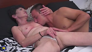 Granny and mom taking young cocks