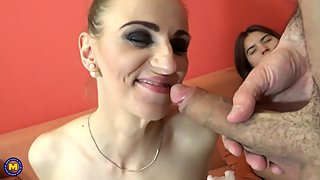 Mom Afina and daughter Evelina sharing cock