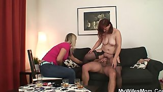 She watches mother-in-law rides his cock